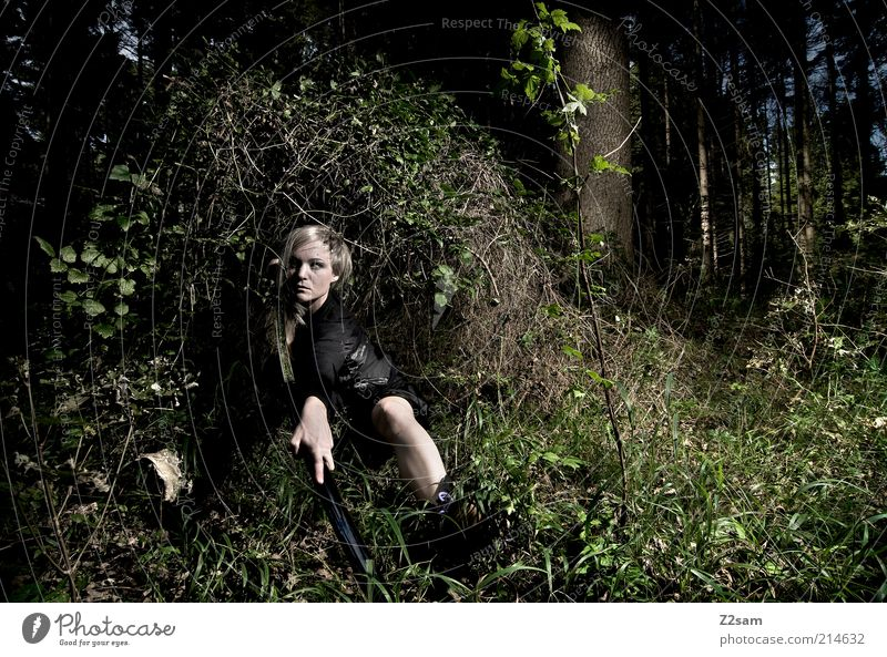 Youth (Young adults) Adults Forest Dark Feminine Grass Blonde Young woman Power 18 - 30 years Bushes Might Observe Model Creepy Anger