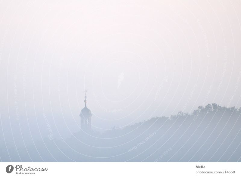 700 - Early riser Environment Nature Landscape Sky Weather Fog Forest Church Tower Roof Domed roof Fresh Cold Natural Blue Pink Moody Calm Belief