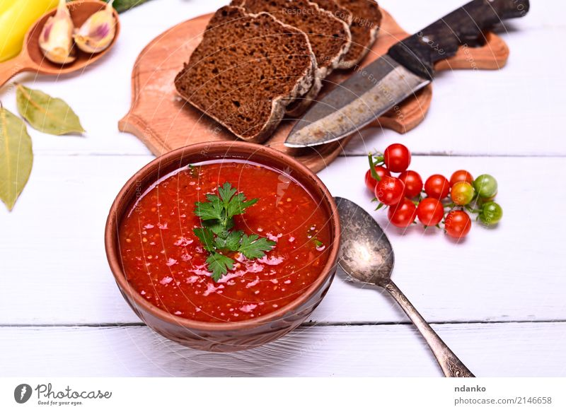 Cold creamy gazpacho soup Vegetable Bread Soup Stew Herbs and spices Nutrition Lunch Dinner Vegetarian diet Diet Plate Spoon Table Kitchen Wood Fat Fresh