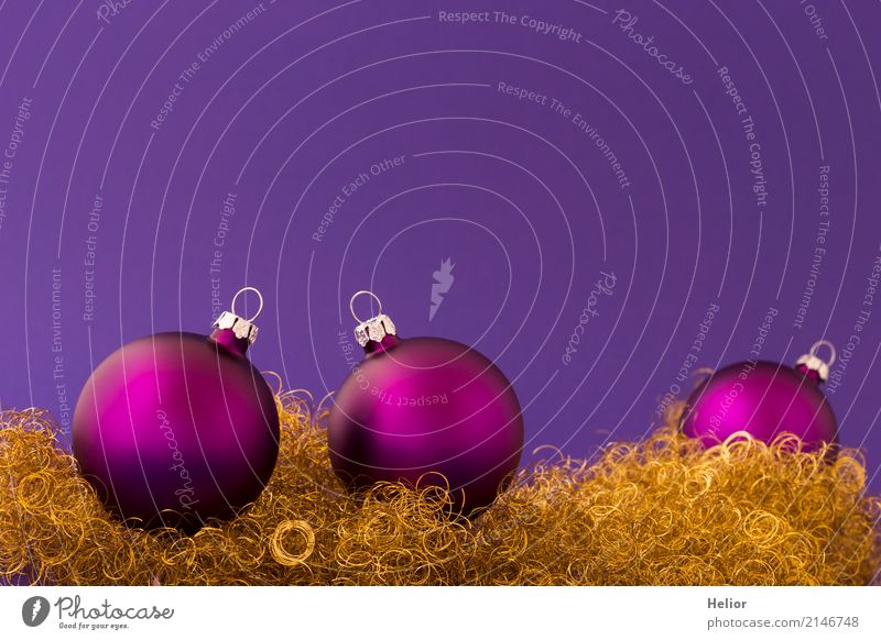 Violet Christmas balls on purple background with gold tinsel Design Joy Feasts & Celebrations Christmas & Advent Glass Metal Sphere Round Gold Anticipation