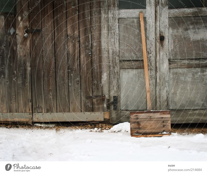 Old Winter Environment Cold Snow Wood Gray Brown Work and employment Gloomy Car door Hut Barn Snow layer Winter maintenance program Duty