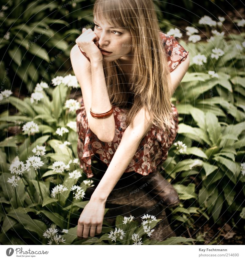Human being Youth (Young adults) Green Beautiful Plant Adults Feminine Think Blonde Arm Esthetic Young woman 18 - 30 years Observe Dress Model