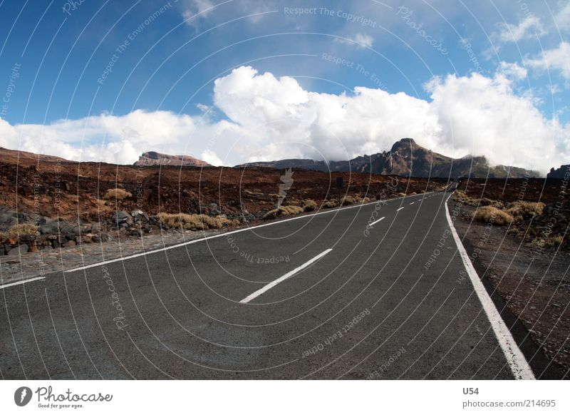 Asphalt to the end Tourism Far-off places Freedom Expedition Summer Landscape Mountain Volcano Natural Colour photo Exterior shot Deserted Day Tenerife Blue sky