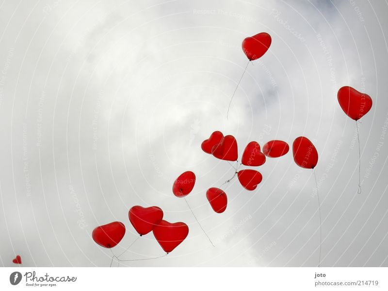 Sky Red Joy Life Emotions Love Happy Feasts & Celebrations Air Flying Together Heart Balloon Romance Kitsch Attachment