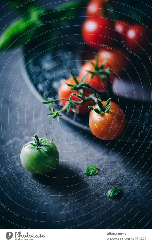 Fresh tomatoes Tomato Vegetable Red Green Mature Immature Harvest Healthy Healthy Eating Food photograph Nutrition Aromatic Delicious Dark Mystic Still Life