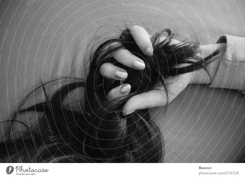 firmly under control Hair and hairstyles Hand Fingers Black-haired Long-haired Curl To hold on Black & white photo Interior shot Shadow Contrast Strand of hair