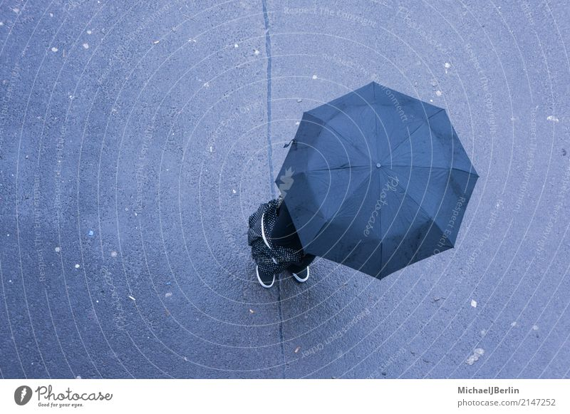 Man with umbrella from above Human being 1 Stand Weather Rain Umbrella Anonymous Bird's-eye view Bad Bad weather Minimalistic Colour photo Exterior shot