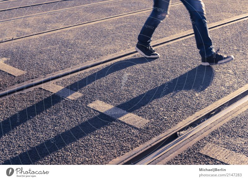 Long shadows of pedestrians between tram tracks Human being 1 Town Public transit Road traffic Street Going Walking Berlin Germany City Sunset Shadow Feet