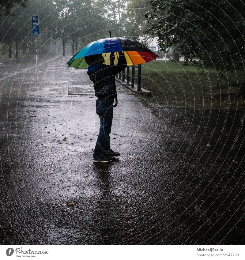 little boy under the umbrella Child Masculine Toddler Boy (child) 1 Human being 8 - 13 years Infancy Drops of water Bad weather Storm Umbrella Stand Berlin