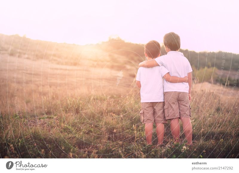brothers Human being Child Nature Landscape Adults Lifestyle Spring Love Emotions Boy (child) Family & Relations Together Friendship Masculine Field Infancy