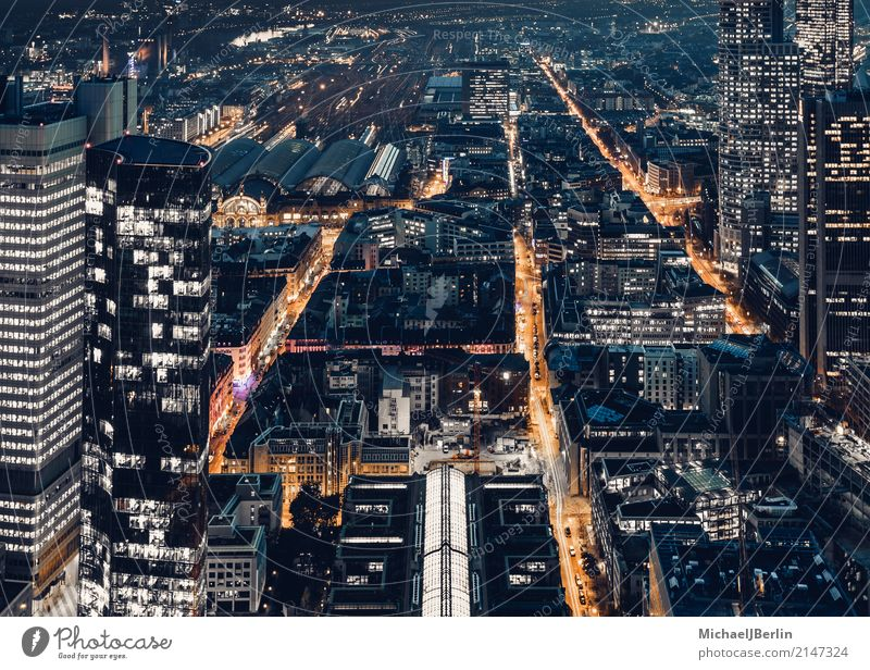 Evening traffic on streets in metropolis Frankfurt Town Downtown Transport Means of transport Traffic infrastructure Rush hour Street Orange Aerial photograph
