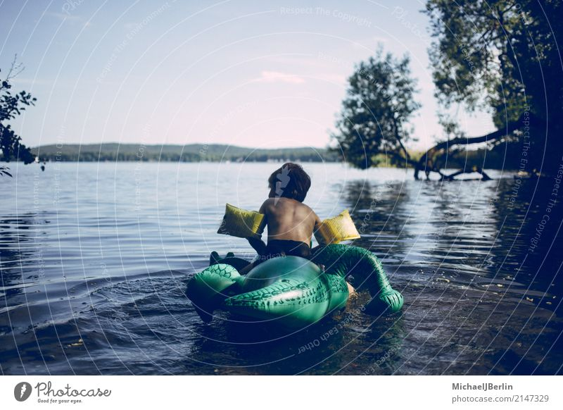 Boy on plastic swimming aid in the lake Playing Float in the water Summer Beach Lake Lakeside Masculine Child Infancy 1 Human being 3 - 8 years Environment