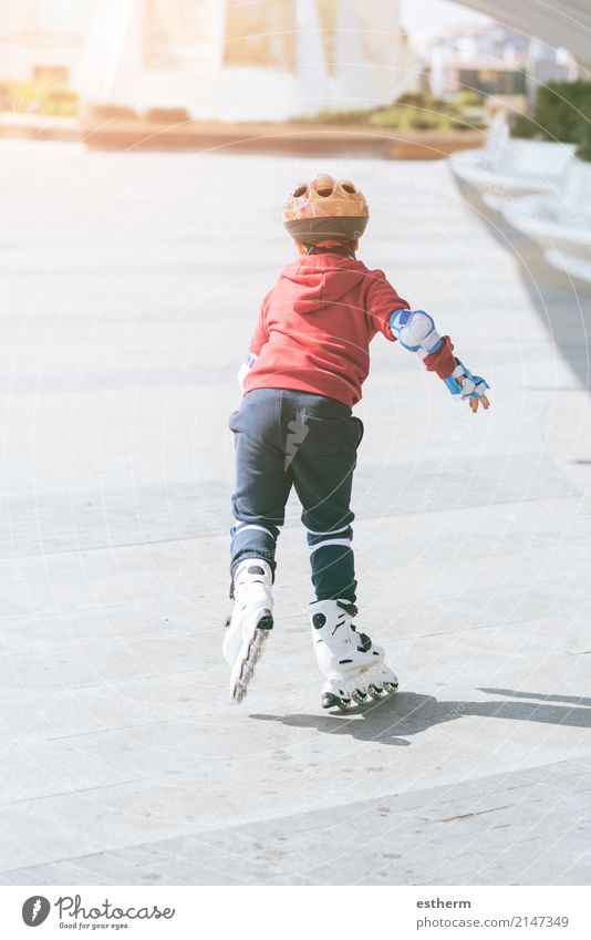 child outdoor roller skates in park. Human being Child Town Joy Life Lifestyle Movement Sports Boy (child) Playing Moody Leisure and hobbies Contentment