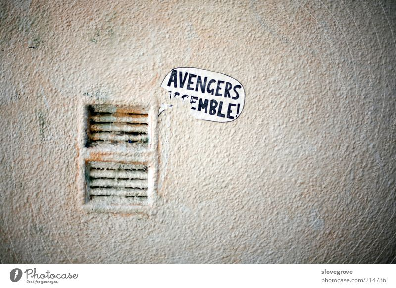 Graffiti on wall Building Architecture Vandalism humorous Humor humour words written poster ventilation air-vent Grunge Alley Exterior shot