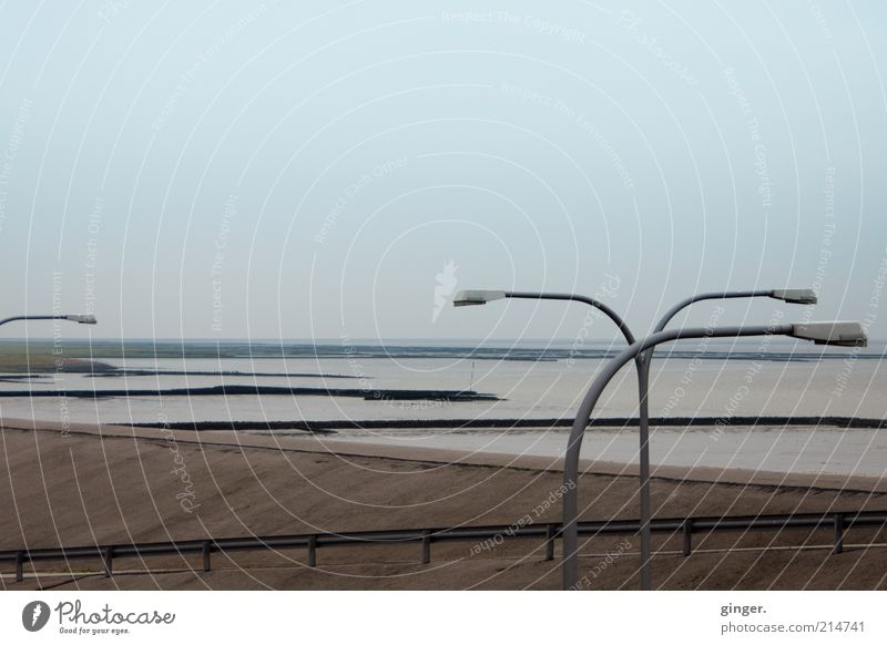 Sky Water Ocean Landscape Environment Dark Autumn Coast Lamp Horizon Brown Gloomy Street lighting North Sea Covered Mud flats