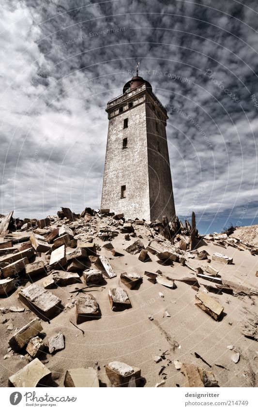In spite of that! Sand Coast North Sea Ocean Dune Beach dune House (Residential Structure) Tower Lighthouse Ruin Wall (barrier) Wall (building) Hope Belief