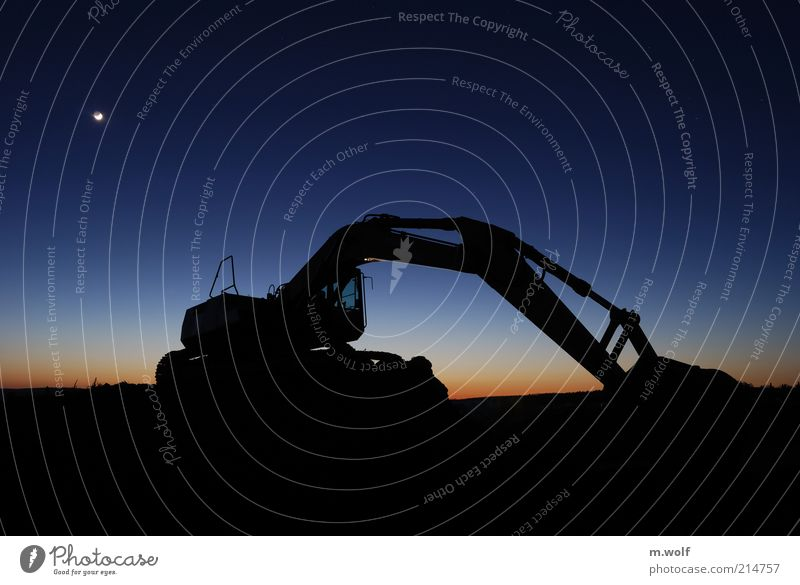 nightmove Work and employment Construction site Industry Closing time Night sky Moon Excavator Blue Black Moody Colour photo Exterior shot Deserted
