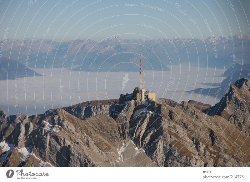 Sky Far-off places Mountain Building Landscape Brown Rock Trip Vantage point Alps Peak Antenna Switzerland Mount Säntis