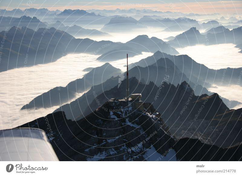 Nature Blue Mountain Landscape Fog Weather Esthetic Alps Peak Back-light Cloud cover