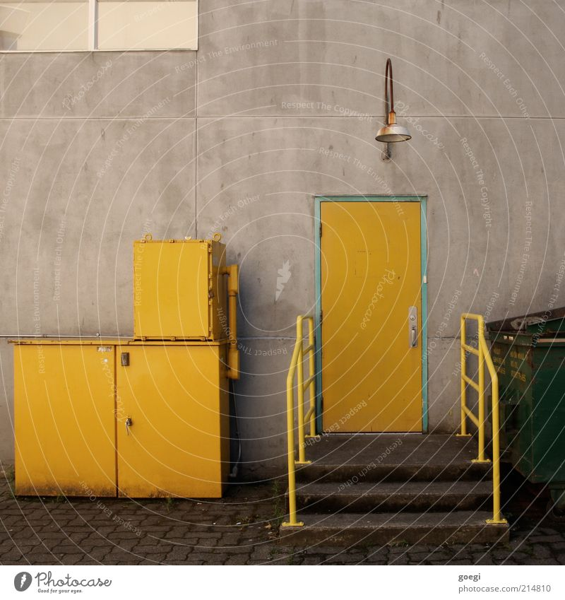 Old Green Yellow Lamp Wall (building) Window Wall (barrier) Building Metal Glass Door Concrete Facade Stairs Gloomy Factory
