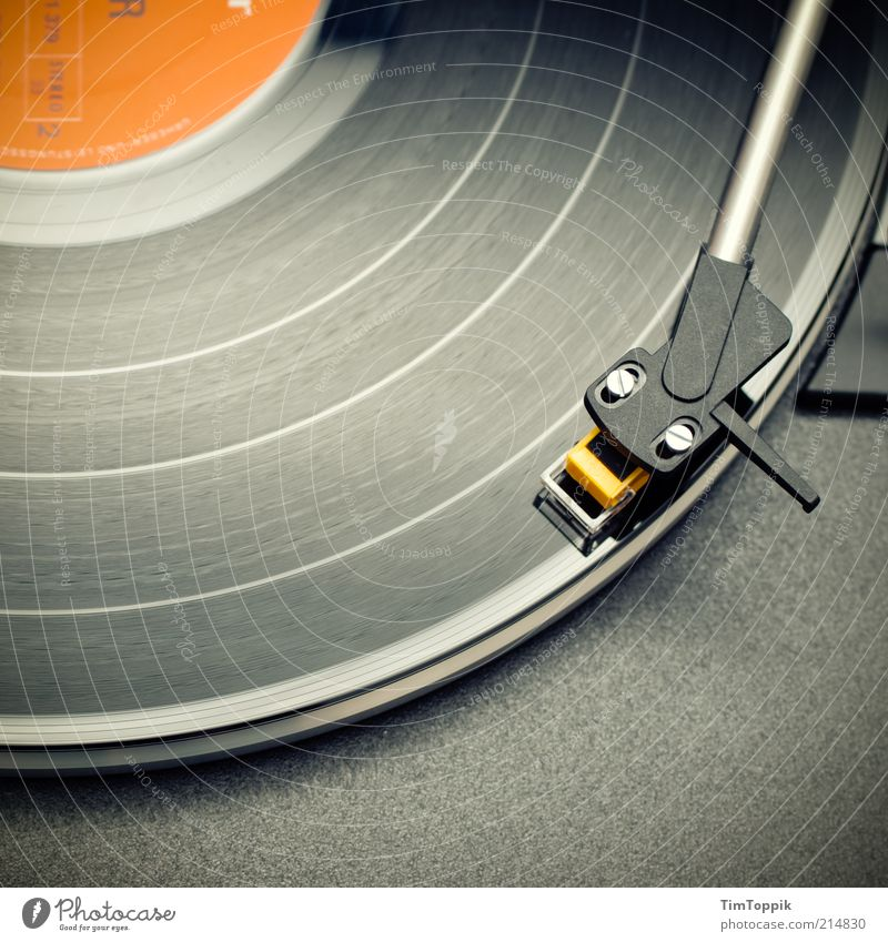 Style Music Feasts & Celebrations Orange Lie Retro Hip & trendy Technology Furrow Seventies Record Pick-up head Sixties Record player Structures and shapes