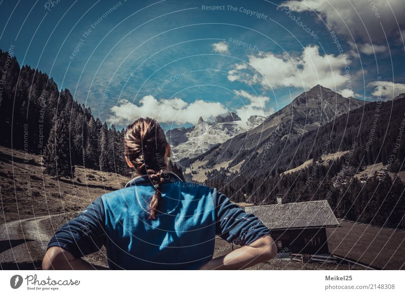 Lonely tips Summer vacation Woman Adults Back 1 Human being 30 - 45 years Environment Nature Landscape Clouds Beautiful weather Forest Alps Peak Lanes & trails
