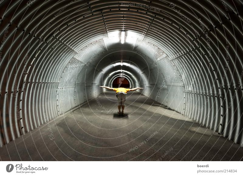Human being Life Dark Moody Contentment Flying Masculine Circle Stand Round Exceptional Middle Tunnel Whimsical Aviation