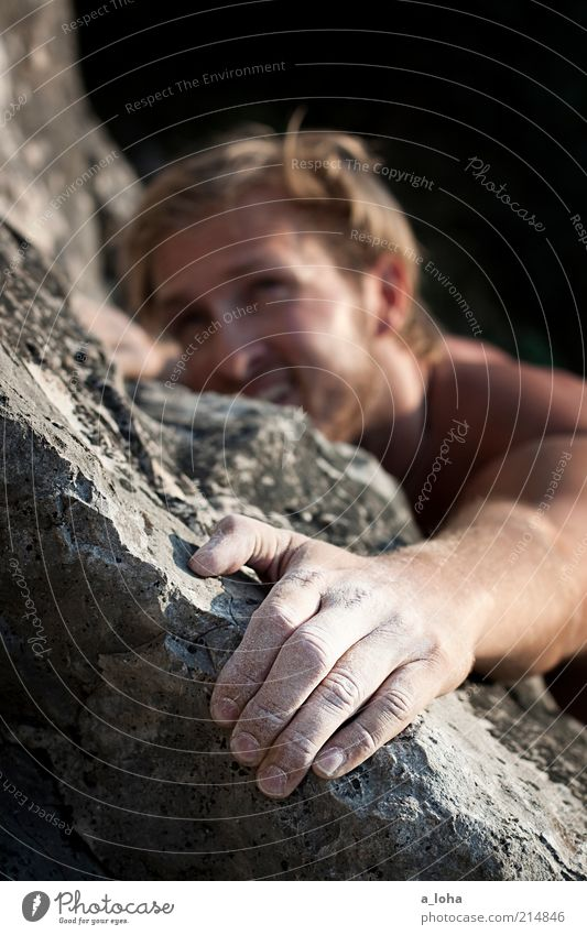 Human being Man Hand Joy Sports Mountain Above Movement Line Power Blonde Rock Tall Masculine Adventure Planning