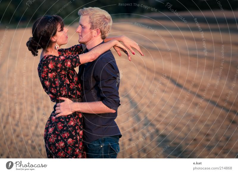 two.i Happy Human being Young woman Youth (Young adults) Young man Couple Life 18 - 30 years Adults Summer Field Shirt Dress Observe Touch Love Embrace Together