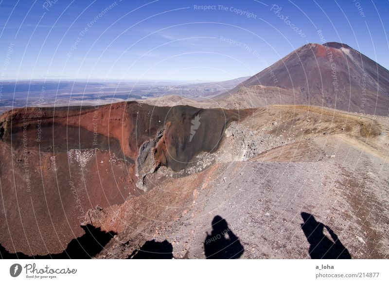 red crater Adventure Far-off places Hiking 2 Human being Landscape Elements Sky Rock Mountain Volcano Volcanic crater Exotic Gigantic Tall Red Power Wanderlust