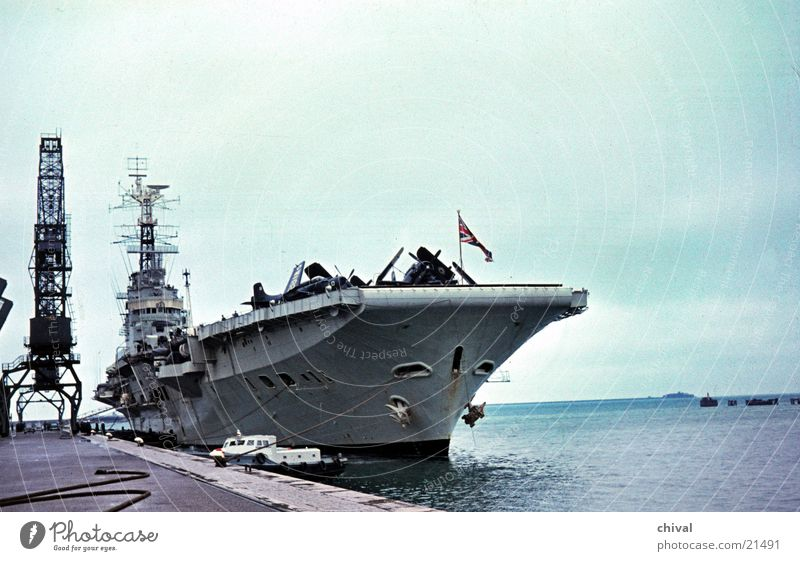 aircraft carriers Aircraft carrier Watercraft Warship Crane Mole Ocean Airplane Europe Harbour Sightseeing