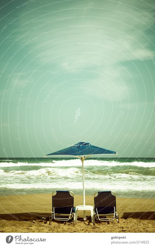 Ocean Blue Summer Beach Vacation & Travel Loneliness Relaxation Waves Free Wellness Leisure and hobbies Hot Sunshade To enjoy Sunbathing Wanderlust
