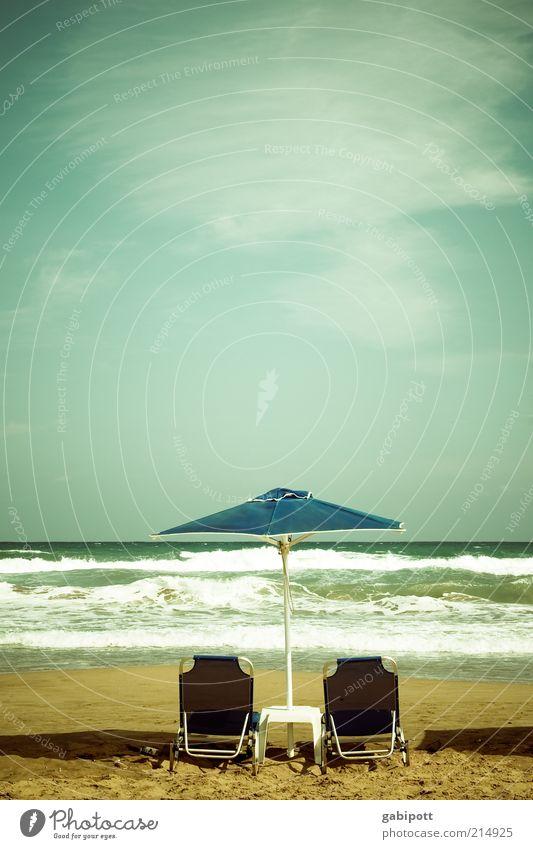 summer sun parasol Vacation & Travel Summer Summer vacation Sunbathing Beach Ocean Waves Crete Greece Free Hot Wanderlust Wellness Leisure and hobbies