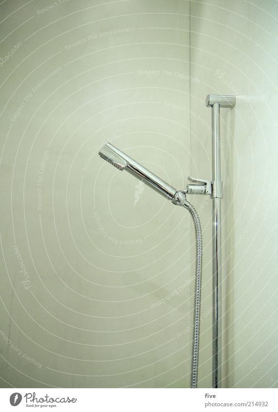 Cold Wall (building) Wall (barrier) Glittering Wet Modern Bathroom Simple Shower (Installation) Still Life Silver Shower head Shower hose