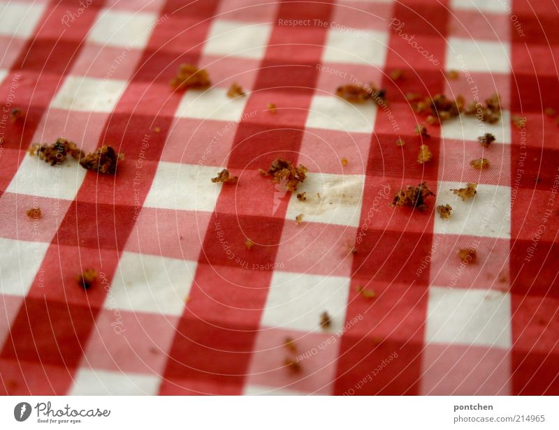 White Red Brown Food Dirty Nutrition Sweet Retro Near Checkered Remainder Dessert Tablecloth Cliche Crumbs Serviette