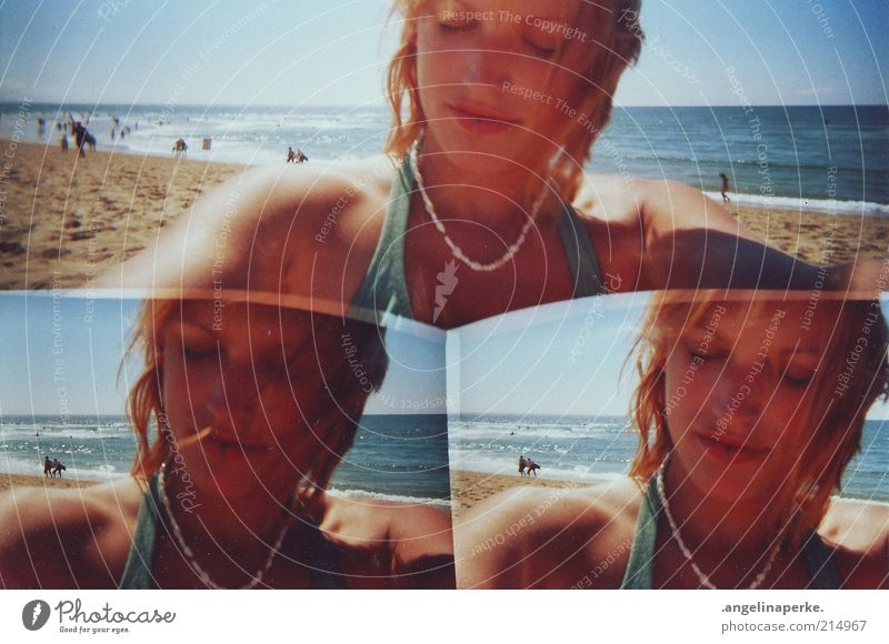 summer salt wind lies in the air 3 lenses camera Summer Beautiful weather Beach Blue sky Sunlight Shadow Sandy beach Atlantic Ocean France Coast Young woman