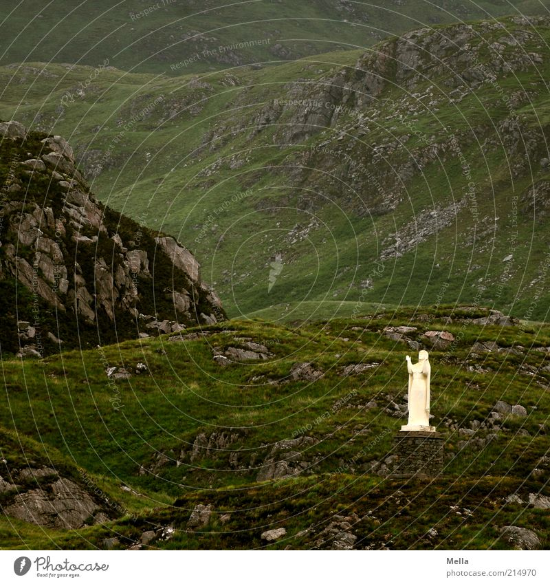 Nature Green Loneliness Mountain Stone Landscape Religion and faith Environment Rock Hope Gloomy Stand Kitsch Hill Statue