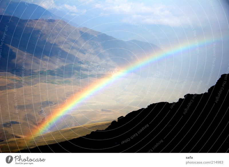Damavand's Rainbow Nature Beautiful Sky Blue Summer Black Clouds Mountain Landscape Bright Brown Wet Rock Tall Fresh