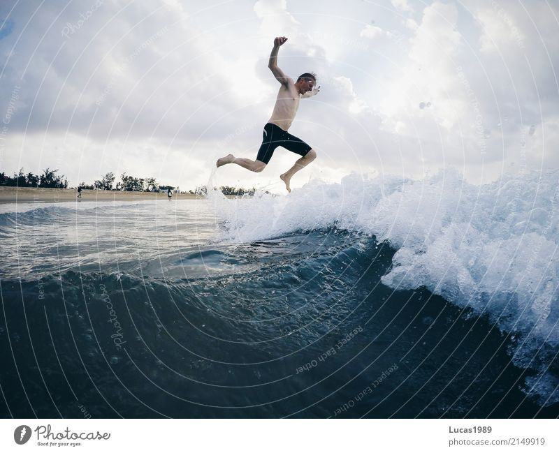 Human being Nature Youth (Young adults) Man Summer Water Young man Ocean Beach 18 - 30 years Adults Coast Sports Swimming & Bathing Leisure and hobbies Jump