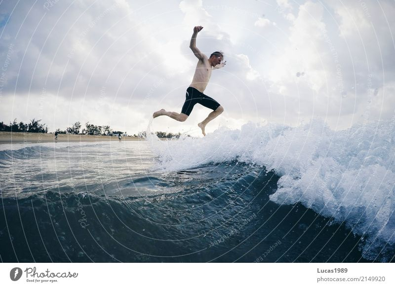 Human being Youth (Young adults) Man Young man Ocean Joy Beach 18 - 30 years Adults Emotions Coast Sports Happy Swimming & Bathing Jump Masculine