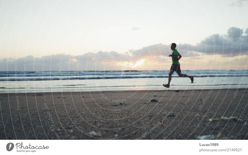 Sunrise run at the beach Leisure and hobbies Vacation & Travel Tourism Far-off places Freedom Summer vacation Beach Ocean Island Waves Sports Fitness