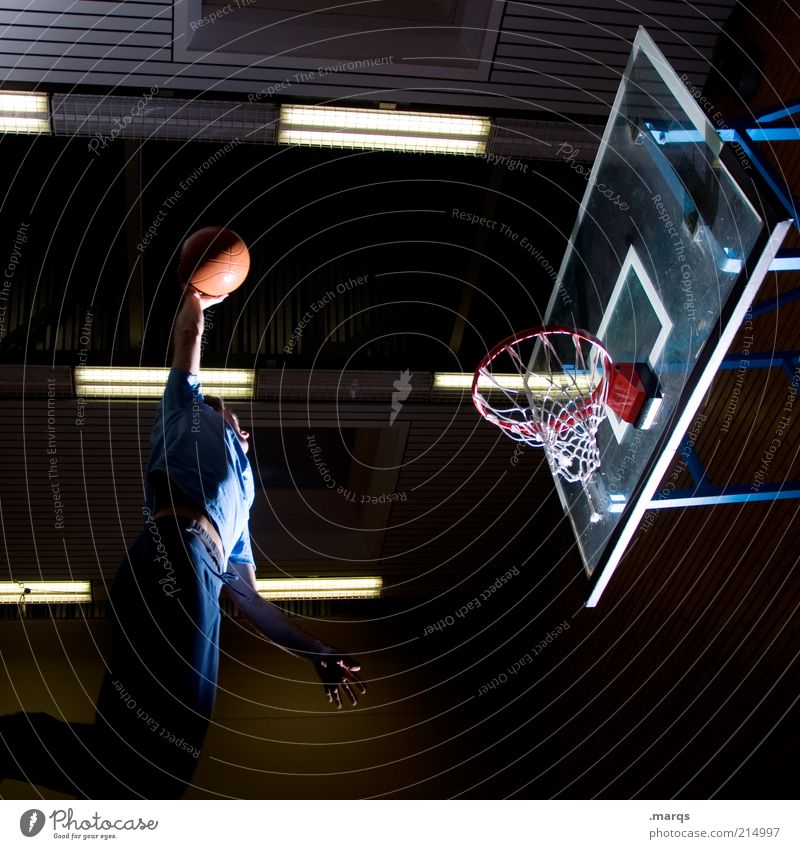 hole punching Lifestyle Leisure and hobbies Sports Sportsperson Basketball Basketball basket Masculine Young man Youth (Young adults) 1 Human being