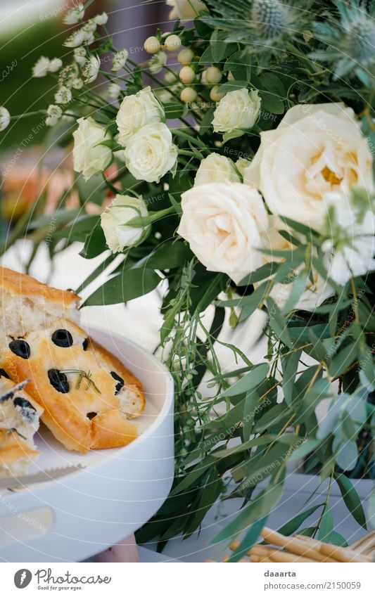 olive treat and flowers Food Dough Baked goods Bread Olive Lifestyle Elegant Style Harmonious Adventure Summer Living or residing Decoration Table