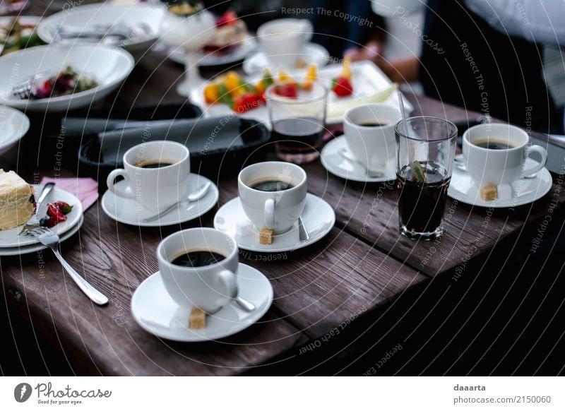cake and coffee Food Cake Beverage Coffee Longdrink Cocktail Plate Mug Elegant Style Design Joy Life Harmonious Relaxation Trip Adventure Freedom Summer Table