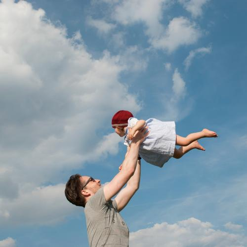 Sky Vacation & Travel Summer Joy Girl Adults Love Movement Laughter Happy Freedom Flying Trip Contentment Infancy Idyll