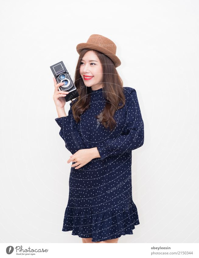 Beautiful young Asian woman with vintage style Lifestyle Elegant Style Happy Vacation & Travel Summer Camera Technology Woman Adults Fashion Dress Old Smiling