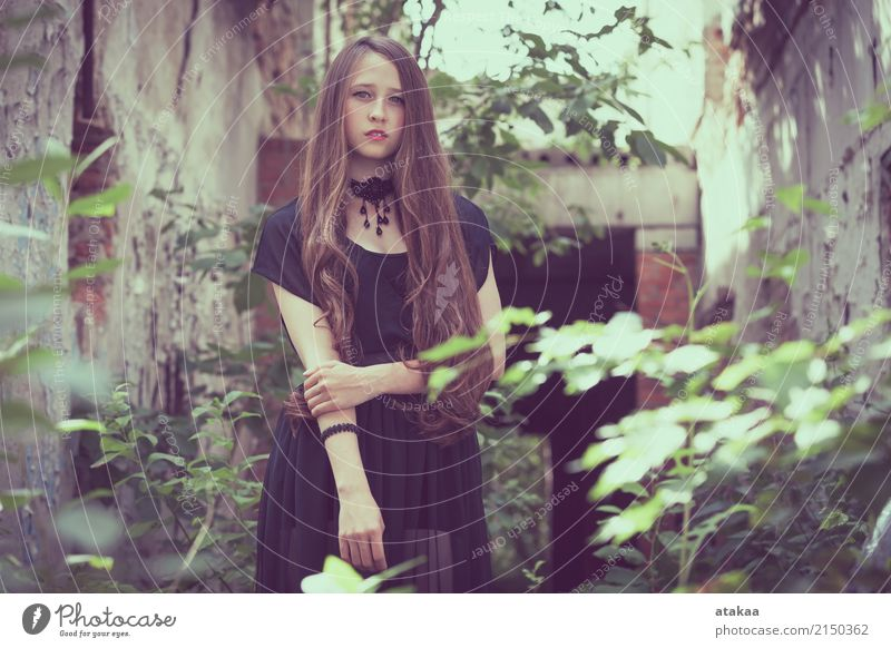 portrait of a beautiful young sad goth girl Lifestyle Style Beautiful Face Relaxation Freedom Summer Human being Woman Adults Youth (Young adults) Nature Park