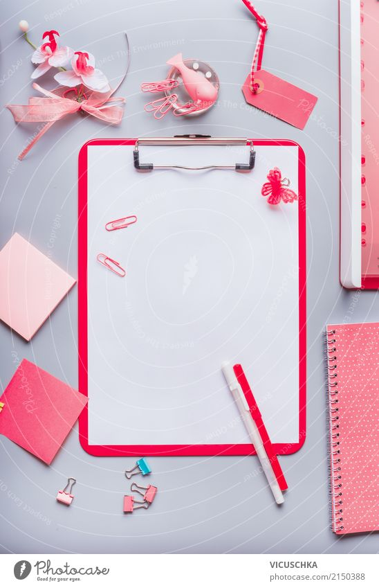 Pink office supplies with blank sheet of paper and pencil Lifestyle Style Design Table Education School Academic studies Office work Business Feminine