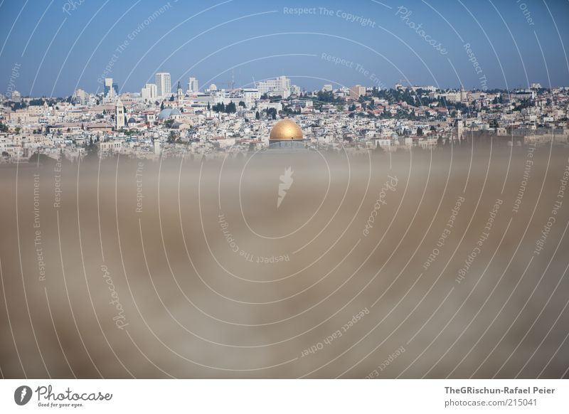 City Blue Far-off places Gray Brown Religion and faith Gold Travel photography Culture Hot Skyline Beautiful weather Foreign Blue sky Israel