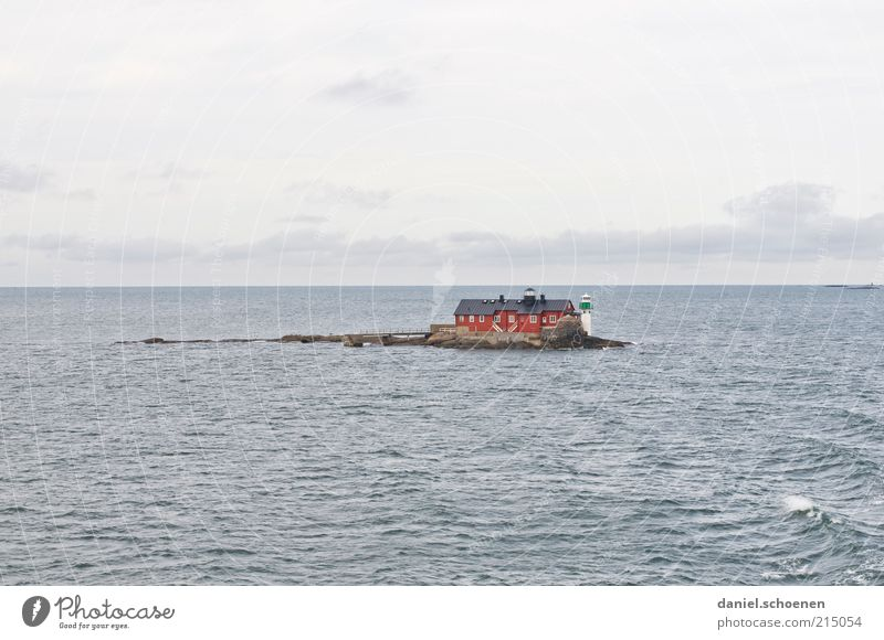 Water Ocean Summer Vacation & Travel Calm House (Residential Structure) Loneliness Far-off places Waves Horizon Trip Island Tourism Lighthouse Sweden Scandinavia